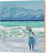 Mountains Ocean With Little Girl  Wood Print