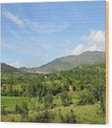 Mountains Sky And Homes In Village Of Swat Valley Khyber Pakhtoonkhwa Pakistan Wood Print