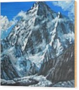 Mountains view landscape acrylic painting Wood Print