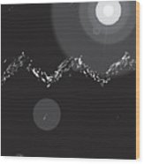 Mountains With Shooting Stars Wood Print