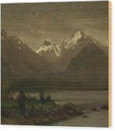 Mountains_and_lake Wood Print