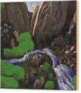 Mountine River Wood Print