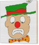 Mournful Clown Wood Print