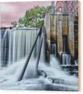 Mousam River Waterfall In Kennebunk Maine Wood Print