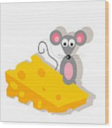 Mouse And Cheese Illustration Wood Print