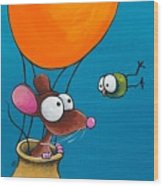 Mouse In His Hot Air Balloon Wood Print