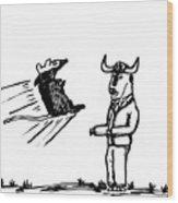 Mouse Vs. Buffalo Wood Print
