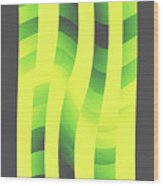 Moveonart Yellowlimegreenwave Wood Print