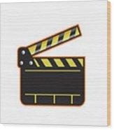Movie Camera Slate Clapper Board Open Retro Wood Print