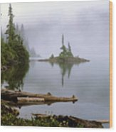 Mowich Lake In Fog  Wood Print