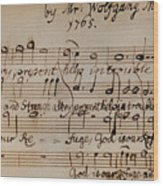 Mozart: Motet Manuscript Wood Print