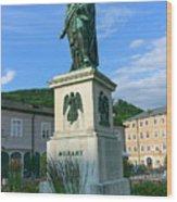 Mozart Statue In Mozartplatz, Salzburg, Austria Wood Print