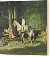 Mr And Mrs A Mosselman And Their Two Daughters Wood Print by Alfred Dedreux