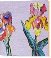 Mr. And Mrs. Yellow Iris Wood Print
