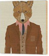 Mr Fox Wood Print