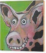 Mr Pig Wood Print