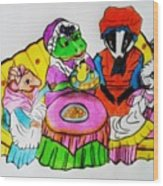 Mrs. Mouse Tea Party Wood Print