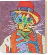 Mr.wisker For Peace Wood Print