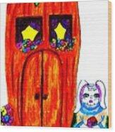 Ms. Bunny's Carrot House Wood Print