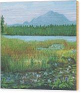 Mt Ampersand From Oseetah Lake Wood Print