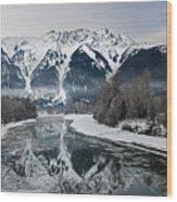 Mt Currie Reflected In Lillooet River Pemberton Wood Print