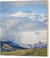 Mt Denali In The Clouds Wood Print