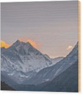 Mt Everest In The Morning Wood Print