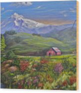 Mt Hood Fantasy Farm Wood Print