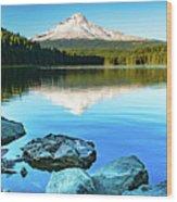 Mt. Hood In Trillium Lake Wood Print