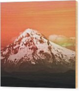 Mt Hood Oregon Sunset Wood Print by Aaron Berg