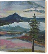 Mt Hood Winter Sunrise Wood Print