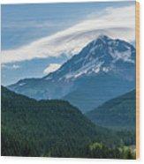 Mt Hood With Lenticular Cloud 2 Wood Print