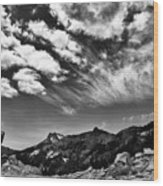 Mt. Lassen B W Wood Print