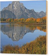 Mt. Moran Fall Reflection  Wood Print
