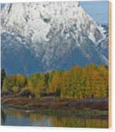 Mt Moran From Ox Bow Bend Wood Print
