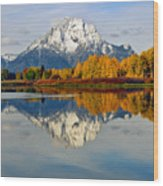 Mt Moran From Ox Bow Bend On A Fall Morning Wood Print
