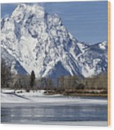 Mt Moran From Oxbow Bend Wood Print