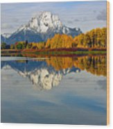 Mt Moran From The Ox Bow Wood Print
