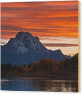 Mt. Moran Sunset Wood Print