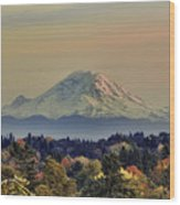 Mt Rainer Fall Color Rising Wood Print