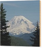 Mt Rainer From The Hills In Packwood Wa  Wood Print