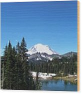 Mt. Rainier And Tipsoo Lake Wood Print