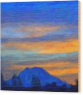 Mt. Rainier At Sunrise Wood Print