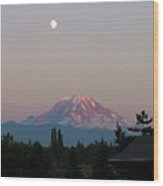 Mt Rainier August Moon Wood Print