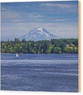 Mt Rainier Blues Wood Print