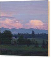 Mt Rainier Blush Wood Print