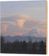 Mt Rainier Lenticular Funnels Wood Print