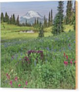 Mt Rainier Meadow Flowers Wood Print