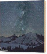 Mt Rainier Milkway Climbers Wood Print