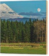 Mt Rainier Moonrise,wa Wood Print